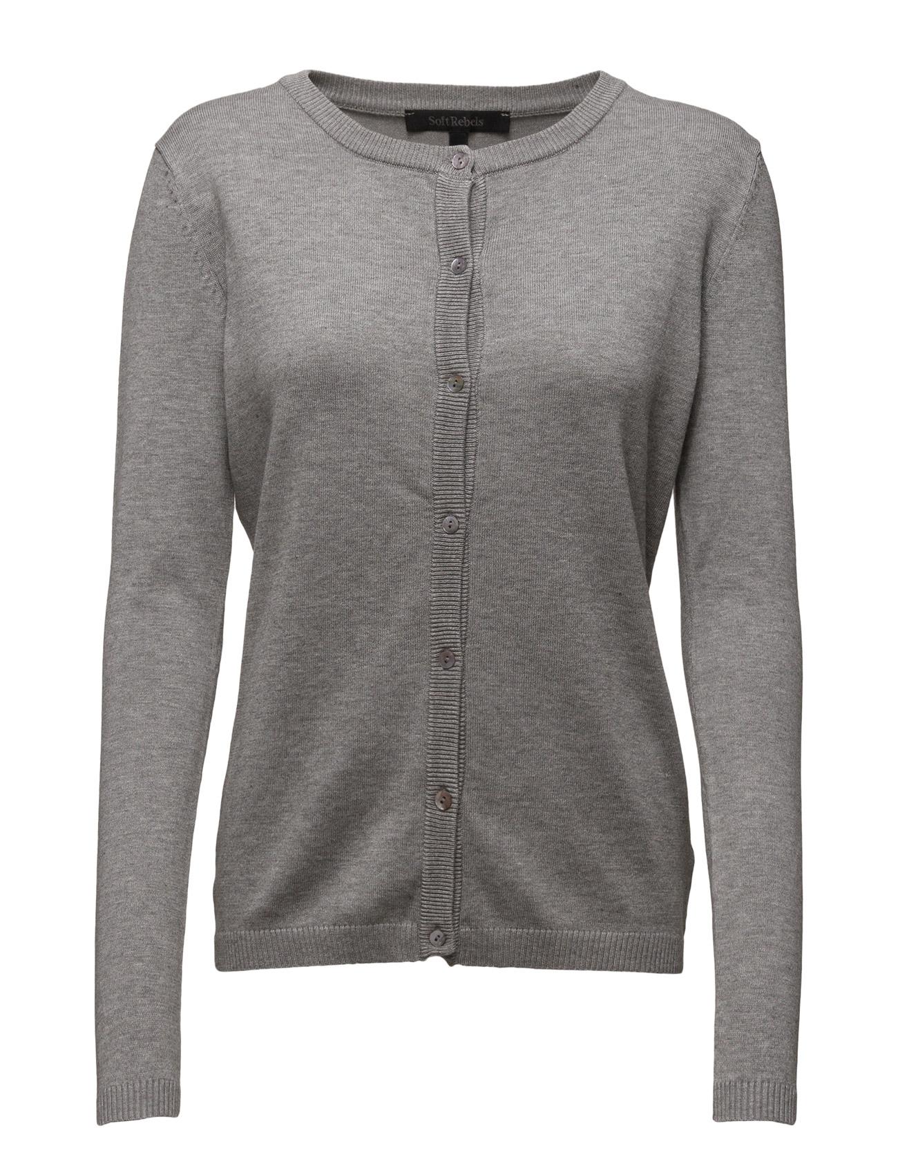 Zara Cardigan O-Neck Soft Rebels Cardigans til Damer i 003 Light Grey
