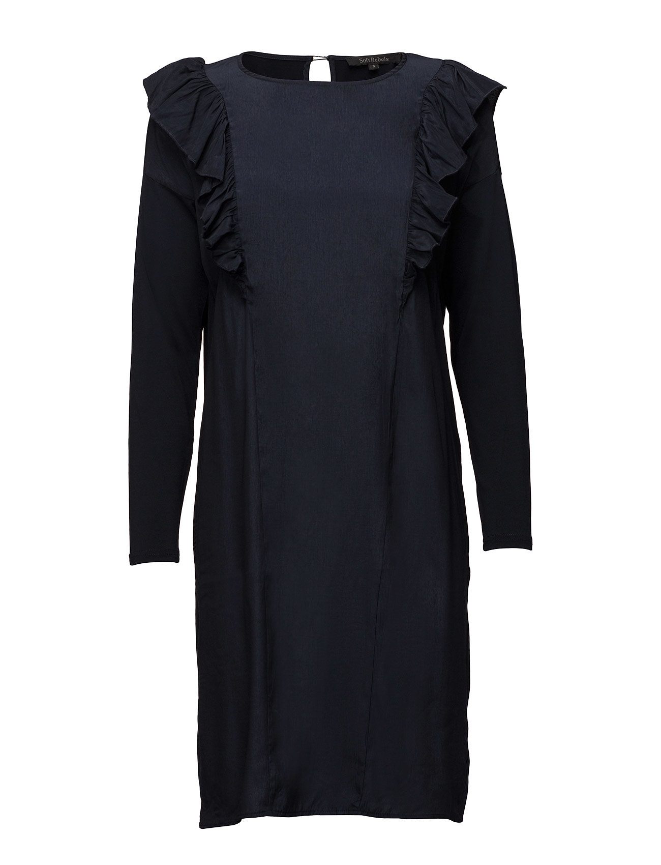 Sofia Dress Soft Rebels Knælange & mellemlange til Damer i 217 Night Sky