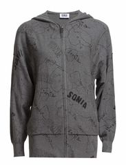 SONIA PRNT HOODED SWTR - GREY/BLACK