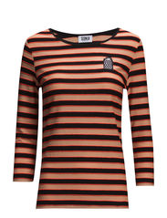 RAYURE TRICOLORE BRODERIE - BLACK/LIGHT PEACH/CORAIL