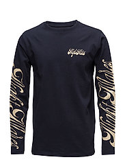 Byrd t-shirt w. long sleeved and print - NAVY