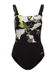 SPEEDO LUNADREAM PRINTED 1 PIECE - BLACK/MOSS