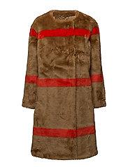 Idette Simple Coat - CAMEL/RED