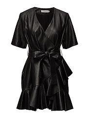 Henriette Ruffle Dress - BLACK