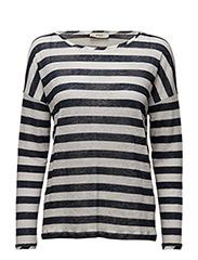 Agni Long sleeve t-shirt - 136-OFF WHITE / DARK BLUE