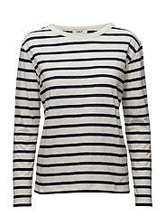 Milla Long sleeve t-shirt - OFF WHITE/DARK BLUE