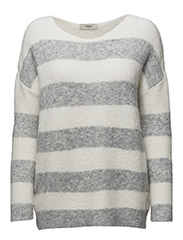 Monifa Knit Round-neck - 117/OFF WHITE/GREY MELANGE
