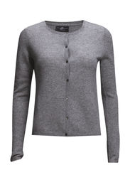 Eva Round Neck Cardigan - 003 Light Grey Mel.