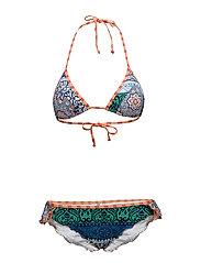 Seekers Triangle Bikini Set - ORANGE/BLUE