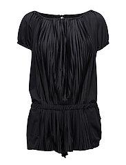 Pleated Off-Shoulder Jumpsuit - BLACK