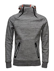 GYM TECH DOUBLE ZIPHOOD - CONCRETE MARL/ICE SPACE DYE