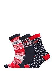 FESTIVE SOCK TRIPLE PACK - RED/NAVY/WHITE