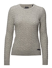 LUXE MINI CABLE KNIT - GREY MARL
