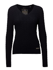 LUXE VEE MINI CABLE KNIT - NAVY