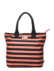 SUMMER TIME TOTE - CORAL/NAVY STRIPE
