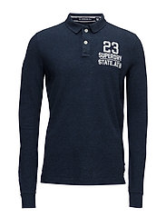 CLASSIC L/S EXPEDITION POLO - NAVY BLUE GRINDLE