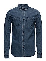 ROOKIE RAW RIVITER SHIRT - WASHED DENIM