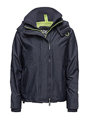 TECH HOOD POP ZIP WINDCHEATER - DARK NAVY MARL/LIME PUNCH