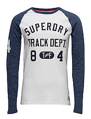 TRACKSTER BASEBALL L/S TEE - OPTIC/PRUSSIAN BLUE MARL