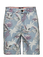 NUE WAVE WASH SHORT - PARADISE CHAMBRAY HIBISCUS
