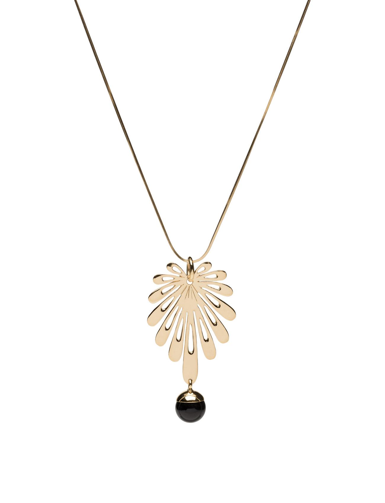 Deco Flower Necklace, Black Onyx Syster P Smykker til Damer i Guld