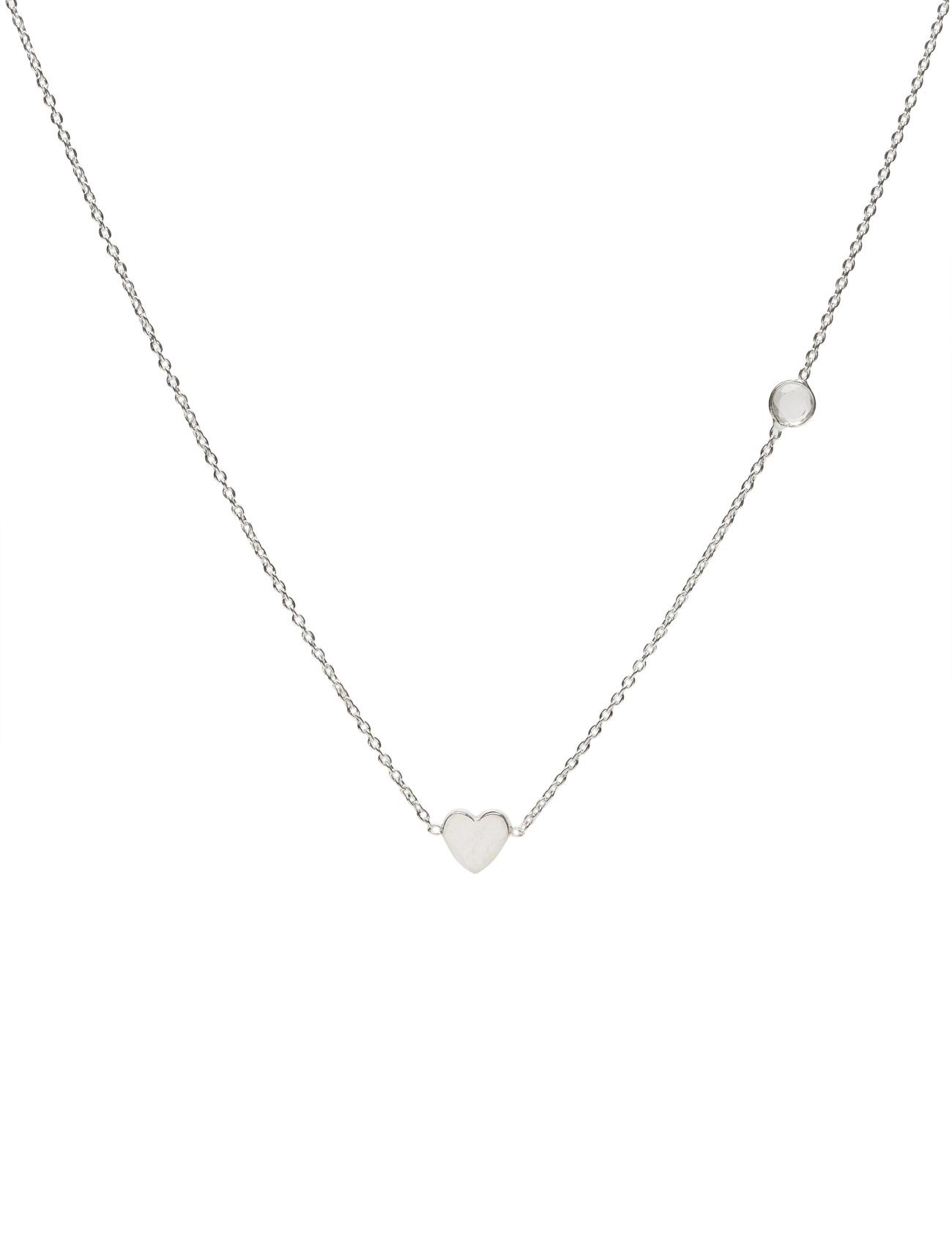 Sparkle Necklace Silver Heart Crystal Syster P Smykker til Damer i Sølv