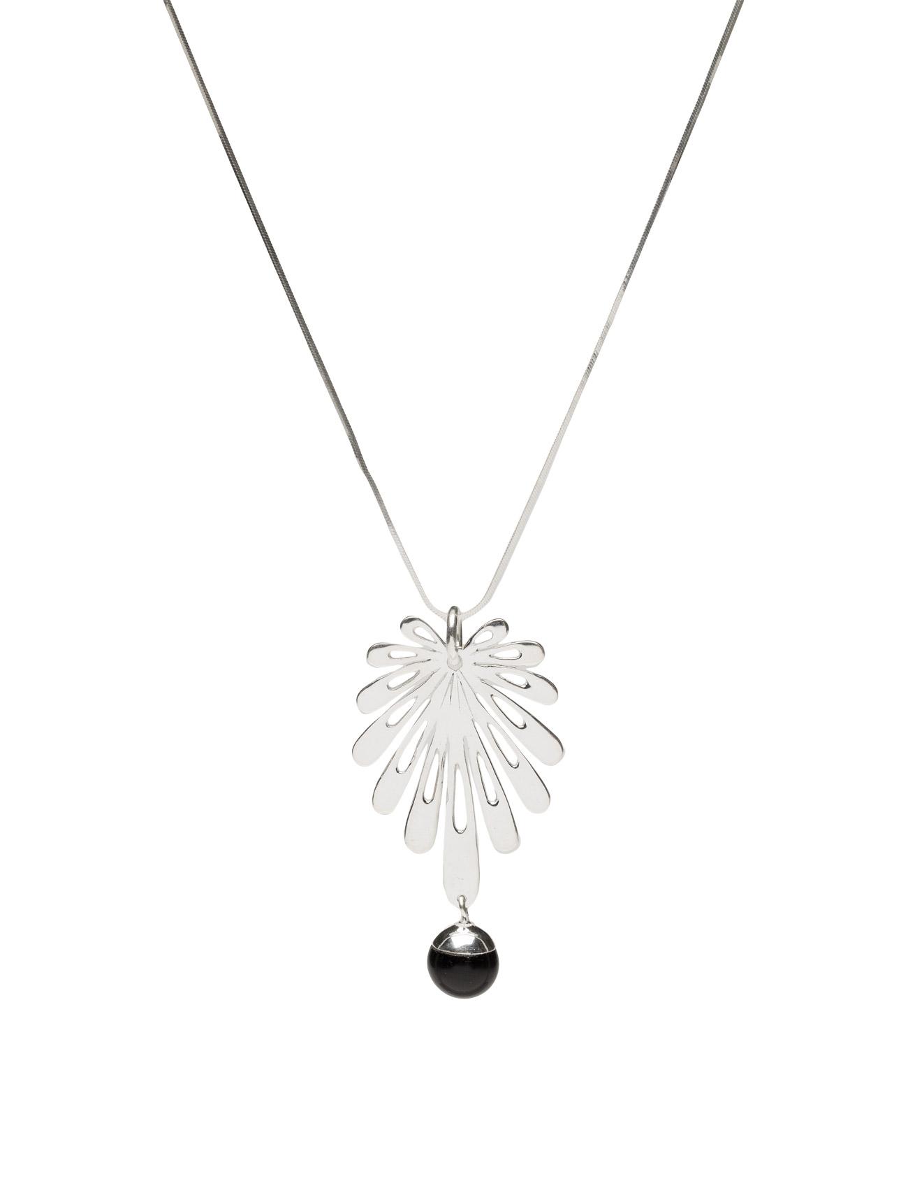 Deco Flower Necklace Silver Black Onyx Syster P Accessories til Kvinder i