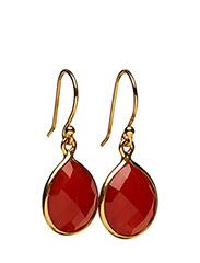 Raindrop Earrings Gold Carnelian - GOLD