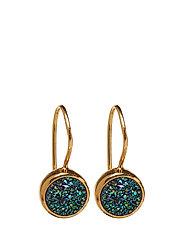 Frances Druzy Earrings Gold Green - GOLD