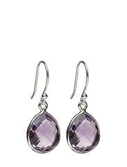 Raindrop Earrings Silver Amethyst - SILVER