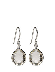 Raindrop Earrings Silver Crystal - SILVER