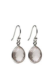Raindrop Earings Silver Rose Quartz - SILVER