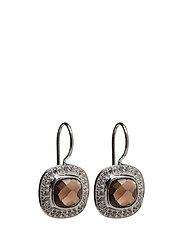 Classy Earrings Smokey Quarts - SILVER
