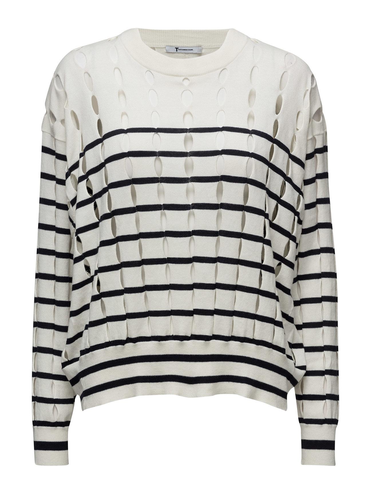 Stripe Cotton Crewneck Pullover With Slits T by Alexander Wang Striktøj til Kvinder i