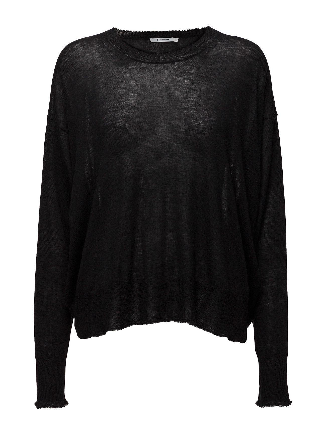 Gauze Cashmere Nylon Knitoversized Crew Pullover T by Alexander Wang Sweatshirts til Damer i Sort