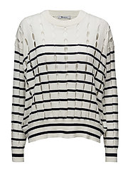 STRIPE COTTON CREWNECK PULLOVER WITH SLITS - ECRU AND MIDNIGHT