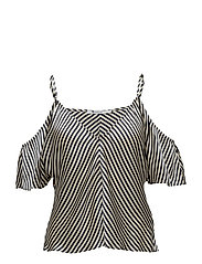 T By Alexander Wang - Striped Silk Charmeuse Cold Shoulder Top