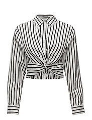 STRIPED COTTON TWIST FRONT CROP LONG SLEEVE SHIRT - BLACK AND WHITE
