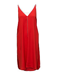 STRETCH VISCOSE CREPE SLEEVELESS DRESS WITH CHAIN - SCARLET