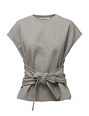 S/S WRAP FRONT TOP - HEATHER GREY