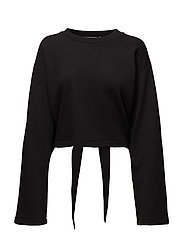 TIE-BACK L/S CROP SWEATSHIRT - BLACK