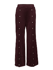 SLEEK FRENCH TERRY WIDE LEG PULL ON PANT W/ SNAPS - BURGUNDY