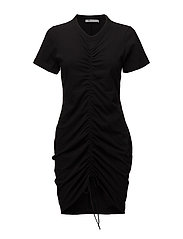 HIGH TWIST DRESS WITH GATHERED FRONT - BLACK