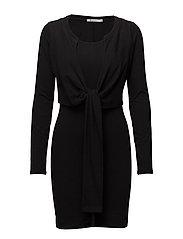 HIGH TWIST L/S DRESS W/ FRONT TIE - BLACK