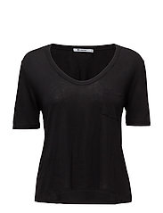 CLASSIC CROPPED TEE WITHCHEST POCKET - BLACK