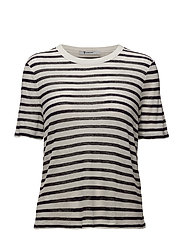 STRIPED SLUB JERSEY CROPPED SHORT SLEEVE TEE - INK AND IVORY