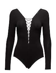 STRETCH JERSEY BODYSUIT WITH BUNGEE LACING - BLACK