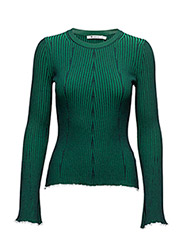 FLARED SLEEVE SWEATER - NAVY WITH EMERALD COMBO