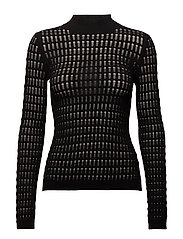 FLOAT STITCH LACE MOCK NECK LONG SLEEVE FITTED TOP - BLACK