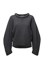 BOILED WOOL CREWNECK L/SSWEATER - CHARCOAL